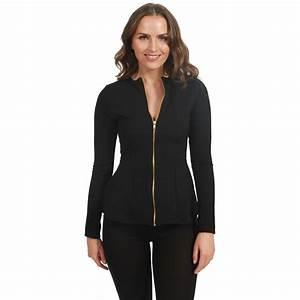 Women Ladies Plain Full Sleeve Zip Up Peplum Frill ...