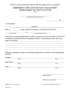 Commitment Action Document Template by Editable Utah Involuntary Commitment Form Fill Online