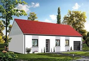 Maison Plain Pied En L : plan maison individuelle 3 chambres baya habitat concept ~ Melissatoandfro.com Idées de Décoration