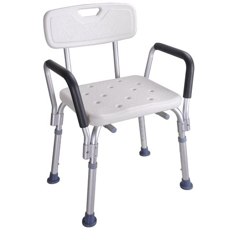 Shower Chair With Arms And Back - 220 lbs capacity shower stool bath chair w back