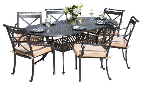carrolton 6 person cast aluminum patio dining set with