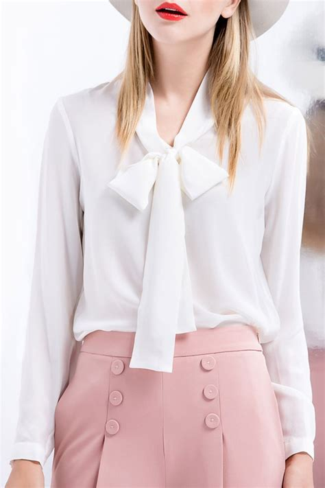 blouse with bow collar tie collar silk top colors collars and silk blouses
