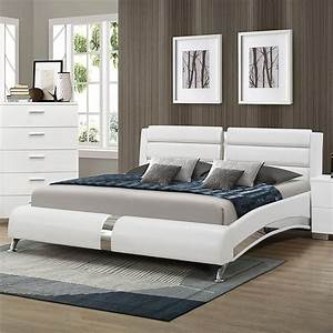Bowery, Hill, Faux, Leather, King, Platform, Bed, In, White, And, Chrome, -, Walmart, Com
