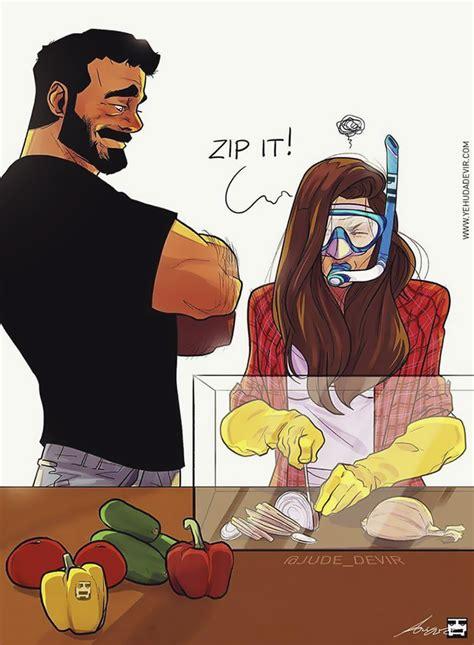 artist hilariously illustrates everyday life   wife