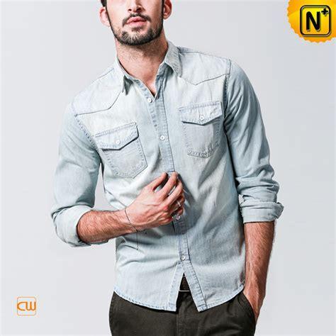 light denim shirt mens mens distressed fitted light denim shirts cw114227