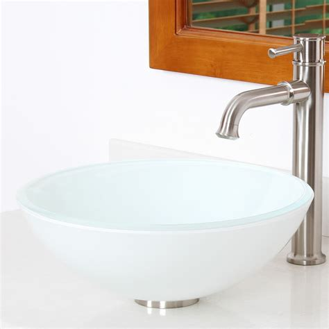 Tempered Glass Bathroom Sink by Elimaxs Elite Layered White Tempered Glass
