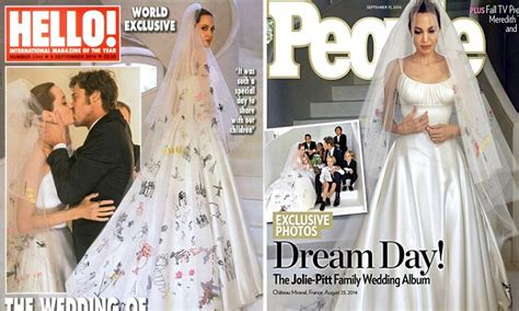 Angelina Jolie In Versace Wedding Dress With Brad Pitt In
