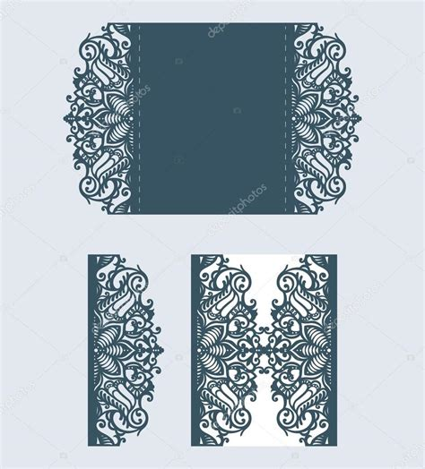 Beautiful Laser Cut Invitation Card With Lace For Wedding