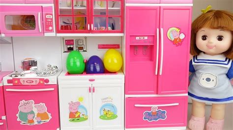 baby doll kitchen set  surprise eggs toys baby doli