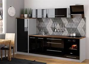 Küche Schwarz Hochglanz : k chenzeile k che 280cm grau schwarz hochglanz neu ~ Michelbontemps.com Haus und Dekorationen