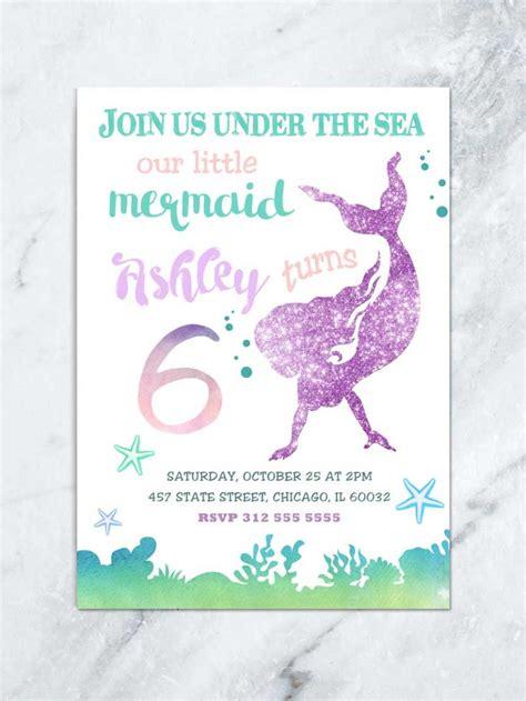 mermaid birthday invitation   sea invitation