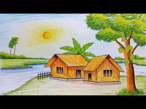 Village Boat Drawing by Village Scenery Drawing Easy Www Pixshark Images