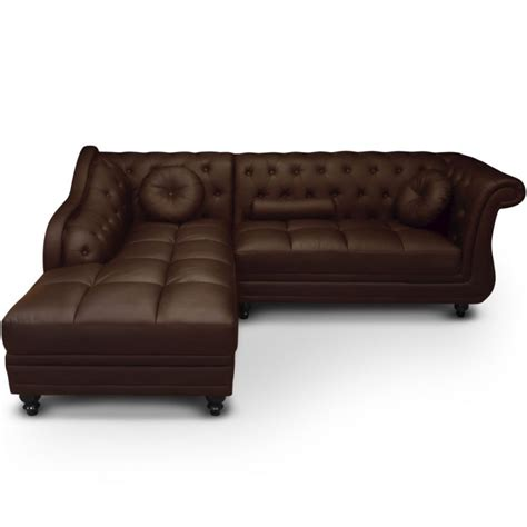 canapé chesterfield marron canapé d 39 angle gauche 5 places marron cuir simili pas cher