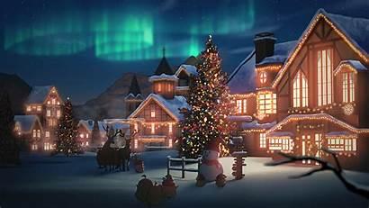 Christmas Aurora Borealis Tree Snowman Wallpapers