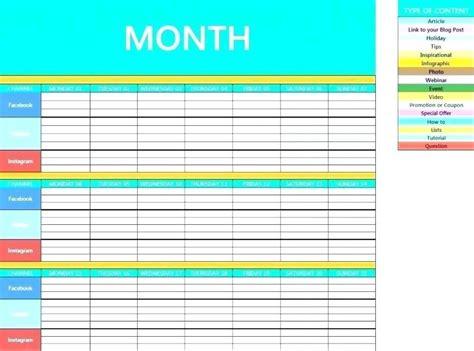 instagram content calendar template social media