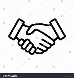 Business Handshake Contract Agreement Line Art Stock ...