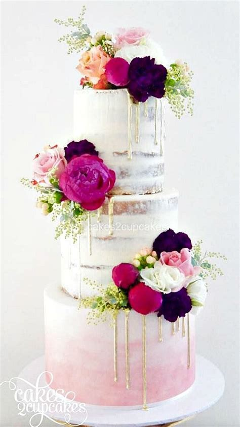 wedding cakes semi naked drip wedding cakes pink ombre