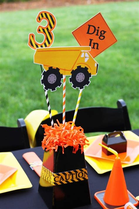 construction themed centerpieces birthday party themes