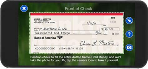 mobile check deposit  bank  america