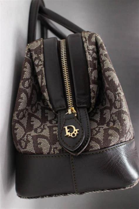 dior oblique monogram signature trotter boston  brown canvas satchel  sale  stdibs