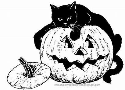 Halloween Coloring Pages Printable Colorings Cat Pumpkin