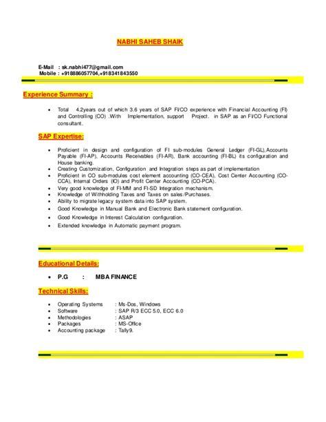 sap resume new model 23 7 2016