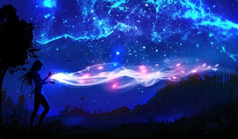 Anime Digital Wallpaper - digital landscape trees sky anime