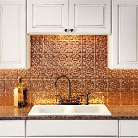 Kitchen Backsplash Panel by Fasade Traditional Style 1 Polished Copper Backsplash 18