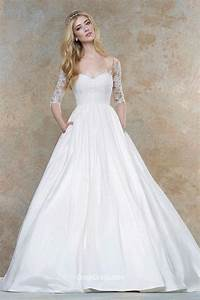 Embroidered illusion applique romantic ball gown fall for October wedding dresses
