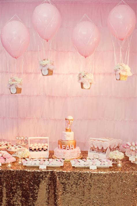A Glittering Pink And Gold Hot Air Balloon Themed Birthday