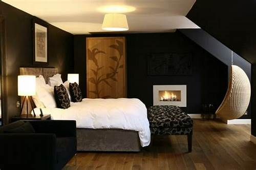 The Walls Are Painted In Black #Black #Wall #Paint #Brings #Charm #And #Drama #In #The #Interior