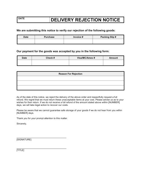 delivery rejection notice template sample form