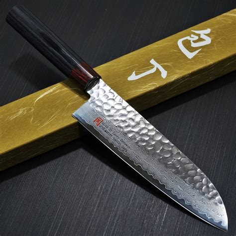 seto hammered  layers nickel damascus vg santoku knife