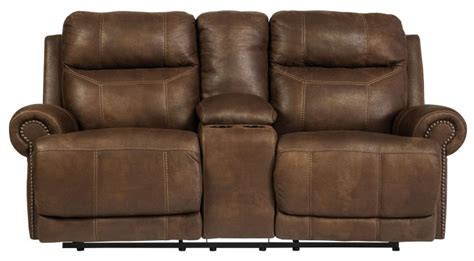 Coleman Loveseat by Austere Brown Power Reclining Loveseat With Console