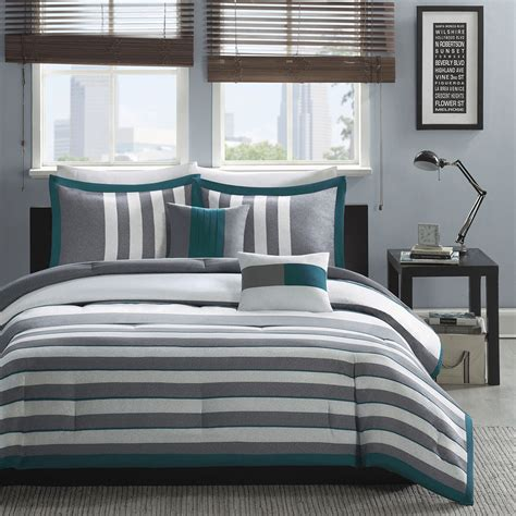 20731 grey bedding sets modern contemporary teal blue grey white stripe comforter