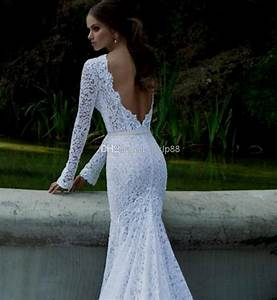 lace mermaid wedding dress open back with sleeves dresses With open back mermaid wedding dresses