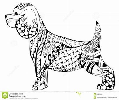 Spaniel Cocker Coloring Dog Pages Cartoon Zentangle
