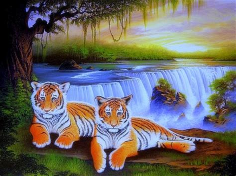 Waterfalls Wallpaper With Animals - tigers at waterfalls waterfalls nature background