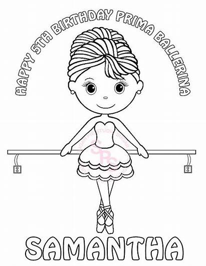 Ballerina Dance Birthday Drawing Printable Party Coloring