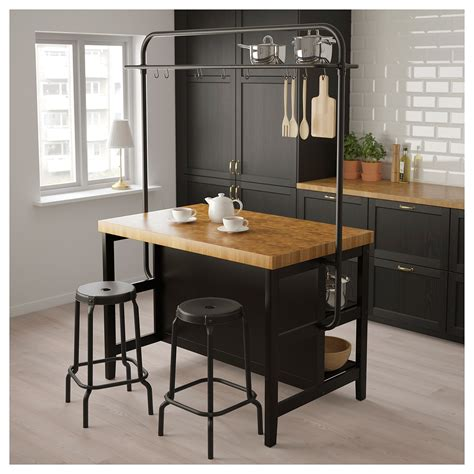 vadholma kitchen island  rack black oak   dream craft room kitchen island