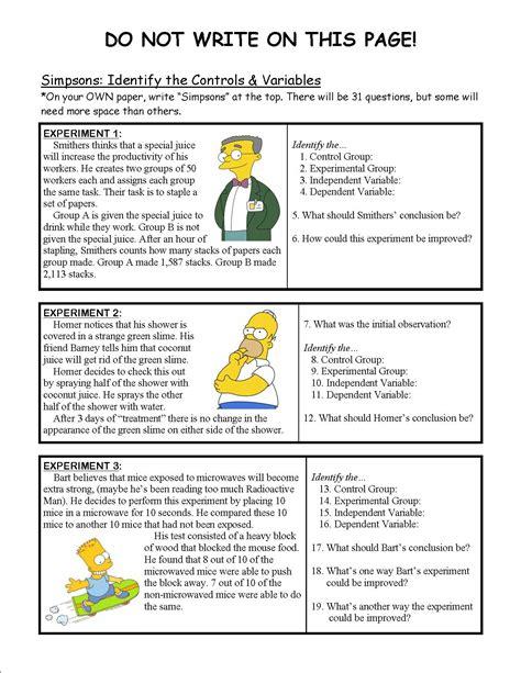worksheet simpsons scientific method worksheet grass