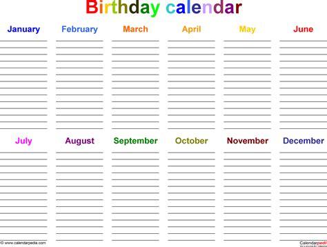 excel template  birthday calendar  color landscape