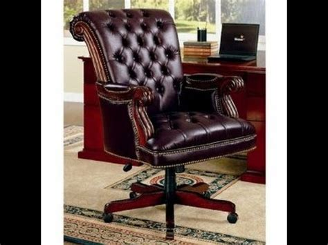 wood and leather office chair antique wood and leather