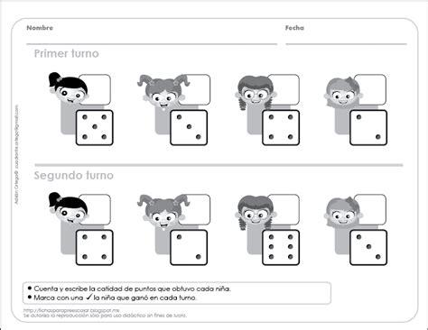 Juegos imprimibles para niños y niñas. Fichas para preescolar: Sumas y números con dados