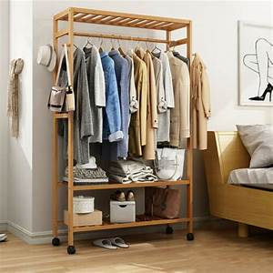 Bamboo, Clothes, Rack, Garment, Storage, Closet, Organizer, Hanging, Rail, Shelf, On