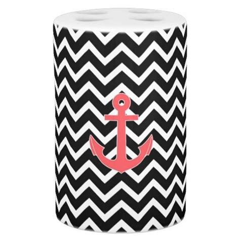 black chevron pink anchor bath set soaps toothbrush