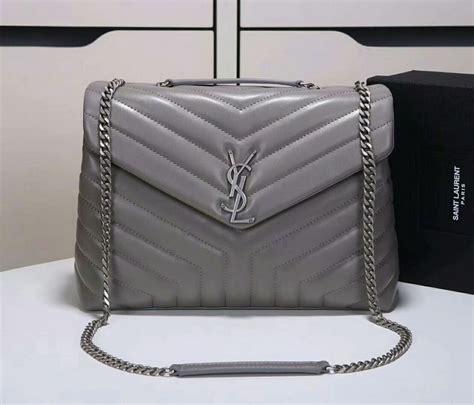 saint laurent loulou  matelasse medium chain bag  grey  grey  www