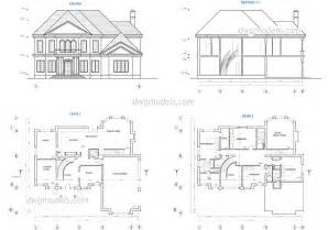 home design blueprints two house plans dwg free cad blocks