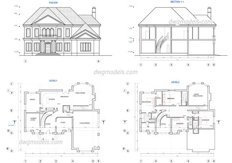 house drawings plans two house plans dwg free cad blocks