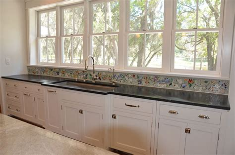 Floral Mosaic Border For Kitchen  Designer Glass Mosaics